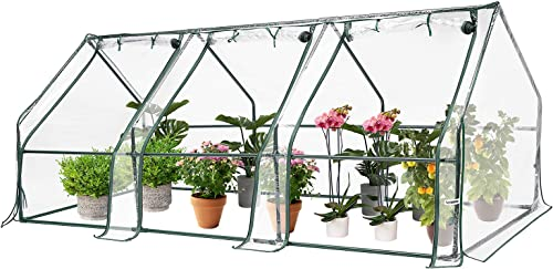 discount VIVOSUN outlet sale Portable Green popular House with Roll-up Large Door, 94.5x36x36-Inch Low Tunnels for Garden Plant outlet sale