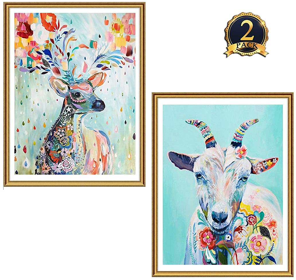 Ginfonr 2 Pack 5D Diamond Painting Colorful Deer & Goat Full Drill by Number Kits for Adults Kids, Craft Rhinestone Moose Reindeer Sheep Animals Paint with Diamonds Set Arts Decorations (12x16inch)