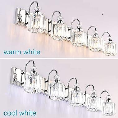 Ralbay Modern LED Crystal Bathroom Vanity Lights 5-Lights Stainless Steel Crystal Vanity Lights Over Mirror Modern Crystal Ba