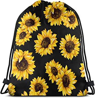 Women's Sunflowers Drawstring Backpack Waterproof Outdoor Sport Gym Bags