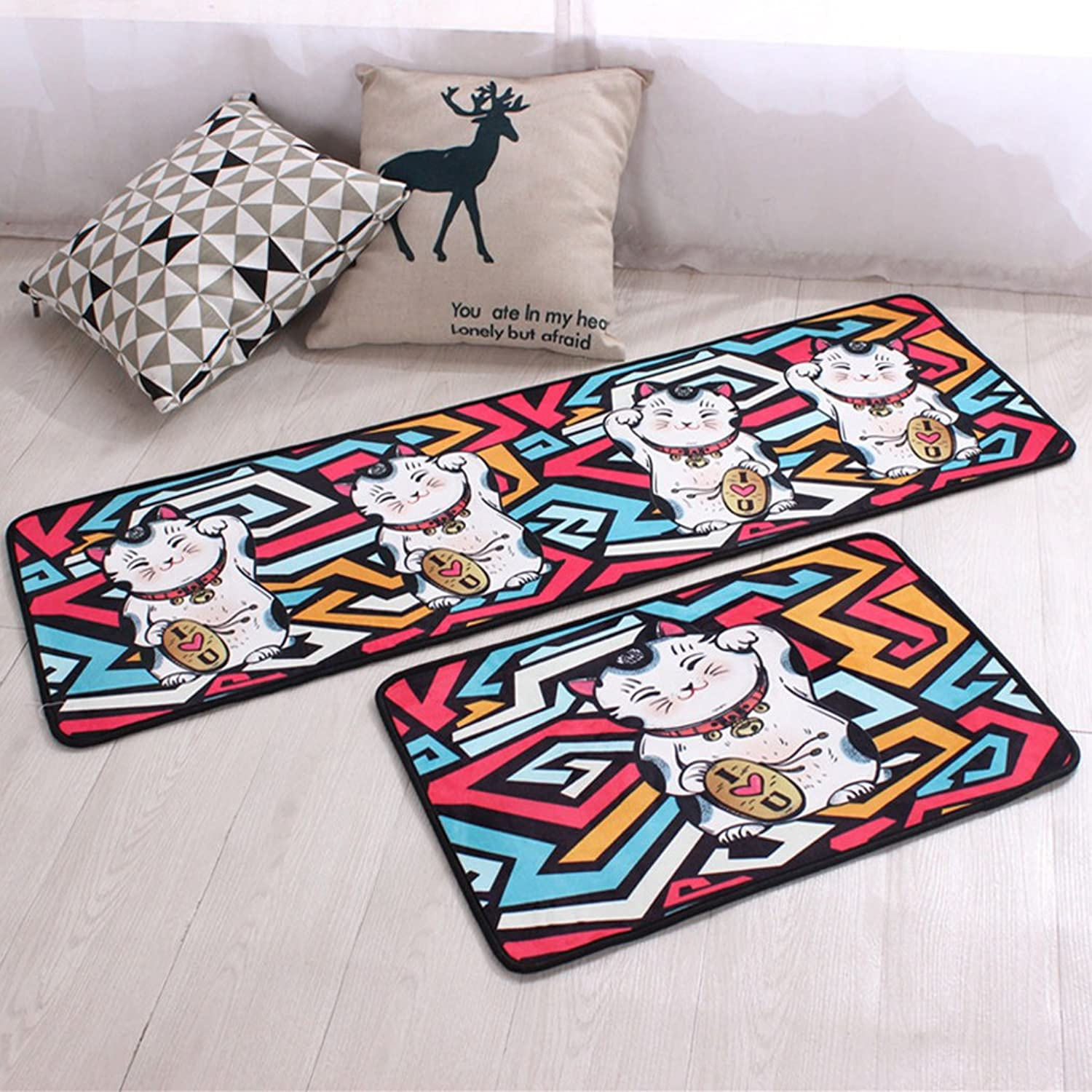 SUN-Shine Durable Home and Kitchen Rug Runners with Non-Slip Rubber Backing Indoor Doormats Floor Mat Carpet, Creative Lucky Cats
