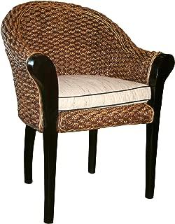 Water Hyacinth Handwoven Paris Chair, Made from Water Hyacinth & Mahogany Wood