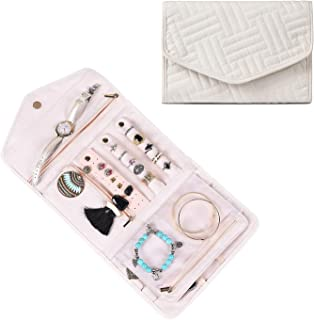 misaya Folded Travel Jewelry Organizer for Women Portable Jewelry Holder Case for Earrings Necklace Rings Lightweight Roll Jewelry Bag Beige