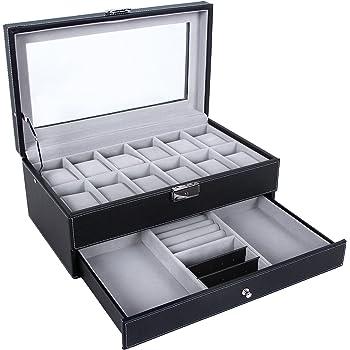 SONGMICS Watch Box 12 Mens Watch Organizer Jewelry Display Case with Lock and Keys Black UJWB012