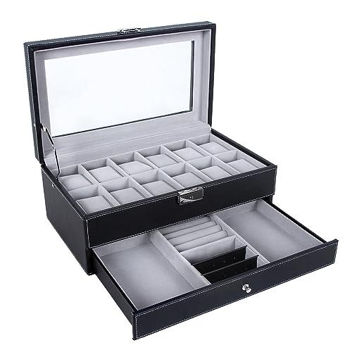 cd3578fff1a SONGMICS Watch Box 12 Mens Watch Organizer Jewelry Display Case with Lock  and Keys Black UJWB012