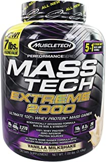 MuscleTech Mass Tech Extreme Mass Gainer Whey Protein Powder, Build Muscle Size & Strength with High-Density Clean Calories, Vanilla, 7lbs (3.2kg)