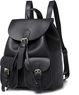 Fashion Women Leather Backpack, Women Double Shoulder Bag for Teens Lady Casual Daypack/School Bag/Travel Bag - Black