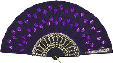 Amajiji Folding Fans for Women,Handmade Elegant Colorful Embroidered Flower Peacock Pattern Sequin Fabric Folding Fans (Purple)
