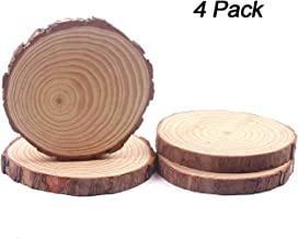 Fuhaieec Wood Slices Natural Unfinshed Round Pine Wood Slabs,7'' to 8'',4 Pack,Large Rustic Wood Pieces with Tree Bark for Wedding Centerpiece DIY Craft Christmas Rustic Wedding Ornaments