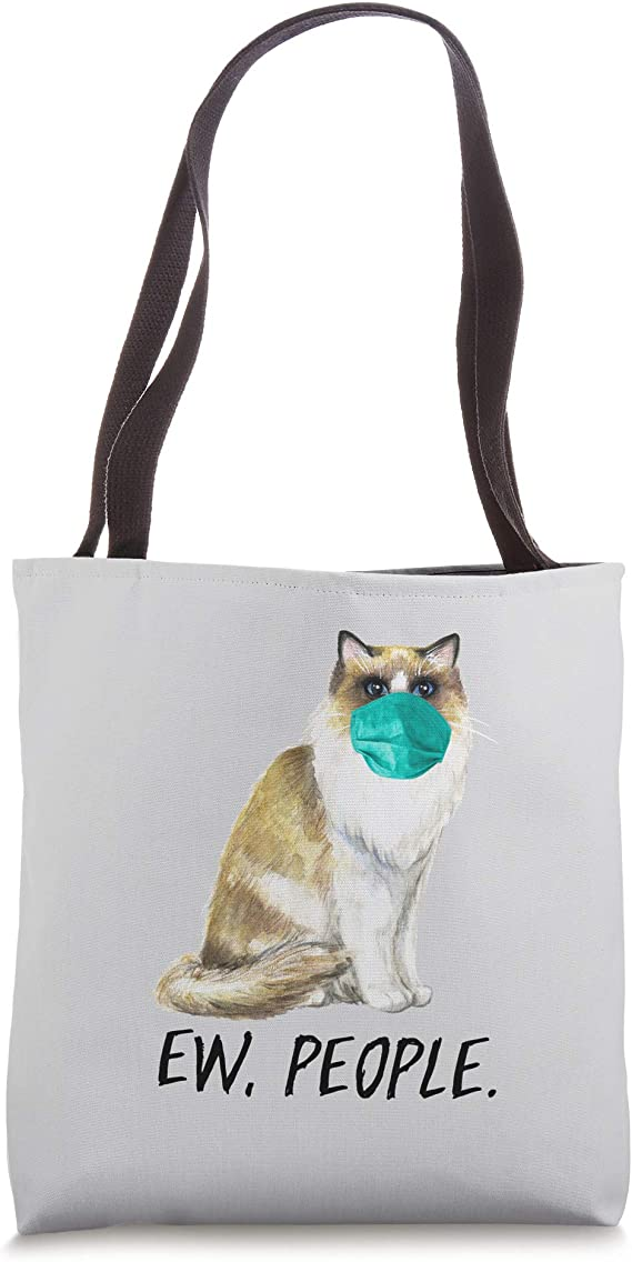 Don/'t Forget Your Mask Tote Bag cat with facemask shopper bag