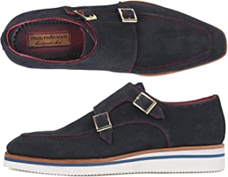 Paul Parkman Men's Smart Casual Monkstrap Shoes Navy Suede (ID#189-NVY-SD)