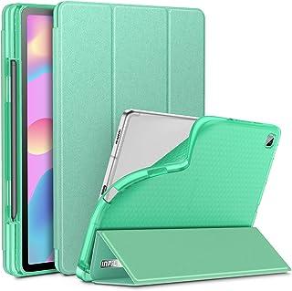 INFILAND Funda para Galaxy Tab S6 Lite con S Pen Holder, Delgada Translúcido Back TPU Case Cascara con Auto Reposo/Activación Función para Samsung Galaxy Tab S6 Lite 10.5 P610/P615,Menta Verde