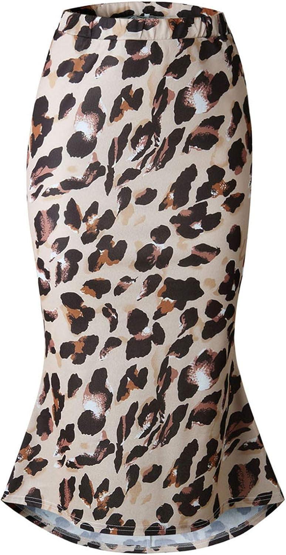 STKOOBQ Women Leopard Printing Skirt Casual Retro High Waist Evening Party Long Skirt