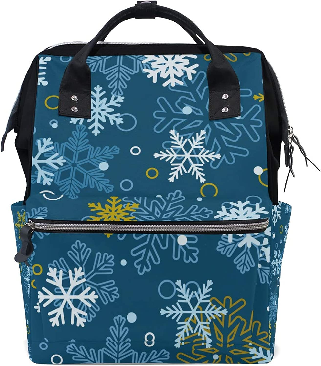 ColourLife Diaper bag Backpack Christmas colorful Snowflakes Tote Bag Casual Daypack Multifunctional Nappy Bags