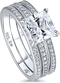 BERRICLE Rhodium Plated Sterling Silver Princess Cut Cubic Zirconia CZ Solitaire Engagement Wedding Ring Set 2.37 CTW