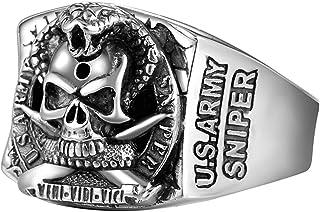 خاتم جمجمة S925 من الفضة الاسترليني عالية التفاصيل بتصميم فريد من نوعه، أحجام متعددة لاختيار خواتم الرجال والنساء أفضل خيا...