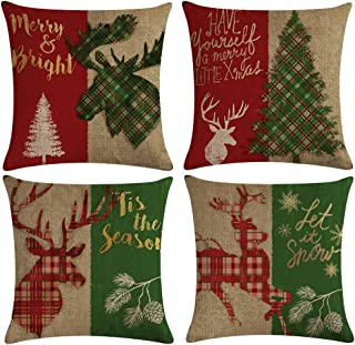 ULOVE LOVE YOURSELF Christmas Home Decor Pillow Covers with Red/Green Buffalo Check Plaid Deer/Xmas Tree Farmhouse Holiday Decorative Cushion Cover 18x18 Inches with Quotes,Set of 4