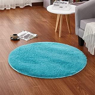 LOCHAS Round Area Rugs Super Soft Living Room Bedroom Home Shaggy Carpet 4-Feet (Blue)