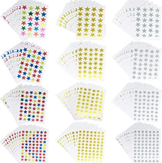 Kenkio Star Stickers 5310 Count Sliver Gold Colorful Self-Adhesive Stickers
