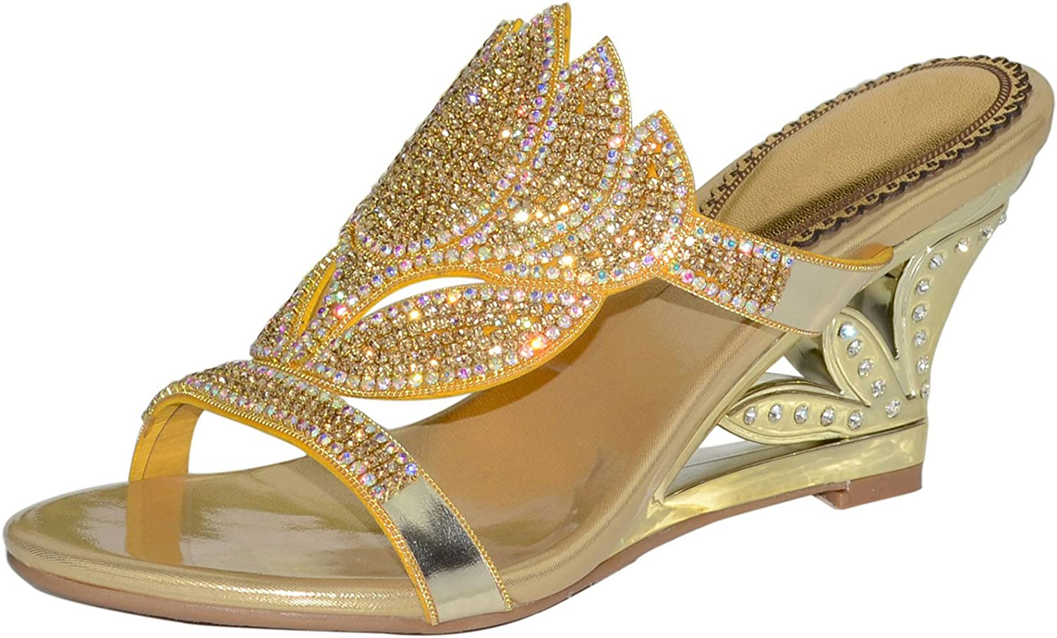 LizForm Crystals Studded Slid Wedge Sandal Front Strap Wedding Evening Party Prom Sandal gold 7.5