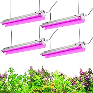 Byingo 2ft LED Grow Light, 96W (4 x 24W) 2-Row V-Shape T8 Integrated Fixture Plug and Play - with Reflector Combo Great for Indoor Plants, Pack of 4