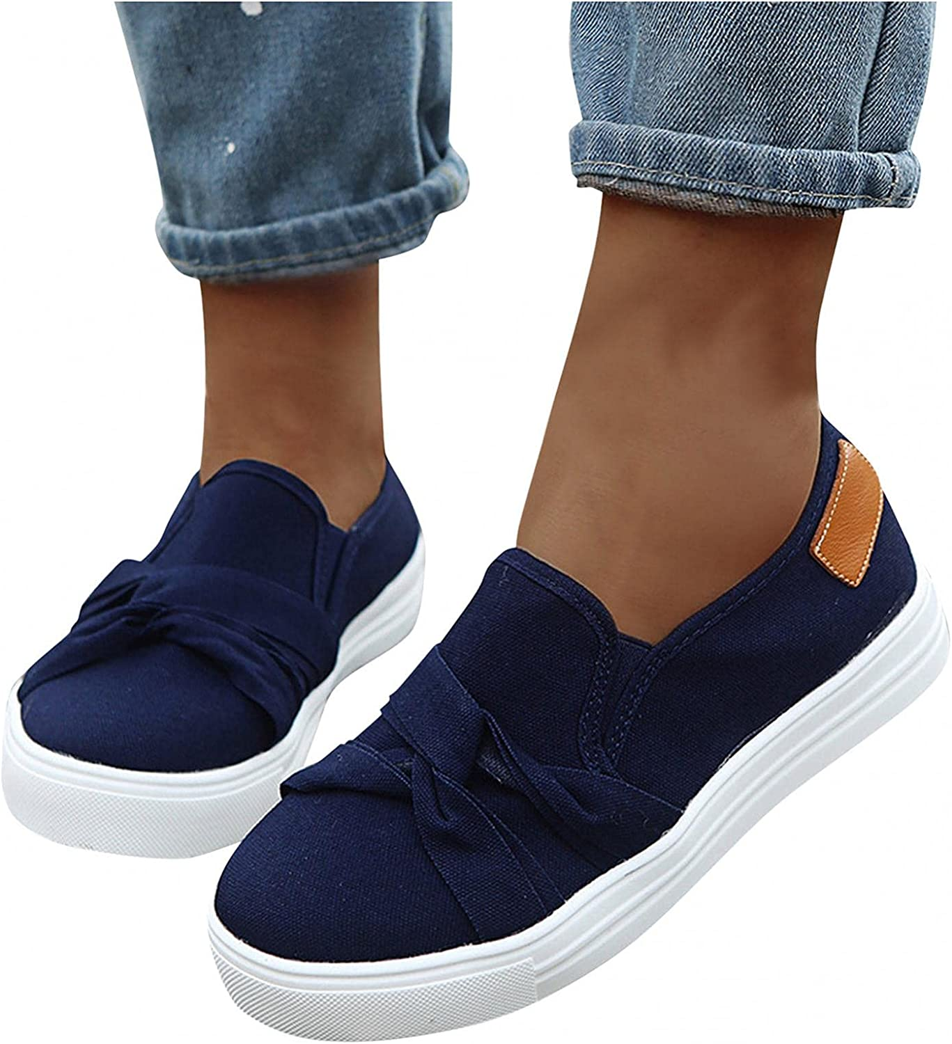Masbird Sneakers for Women Walking Shoes Breathable Round Toe Canvas Loafers Fashion Platform Slip On Running Shoes