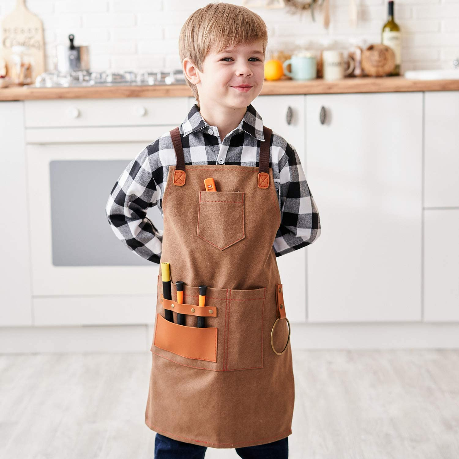 Durable Canvas Tool Apron for Son Style Drew Golden Rod NEOVIVA Heavy Duty Work Apron for Kid Boys with Pockets and Adjustable Cross-back Straps
