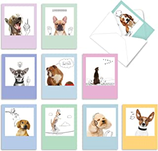 Dogs and Doodles - 10 Boxed All Occasion Dog Note Cards with Envelopes (4 x 5.12 Inch) - Funny Blank Greeting Card Set for...