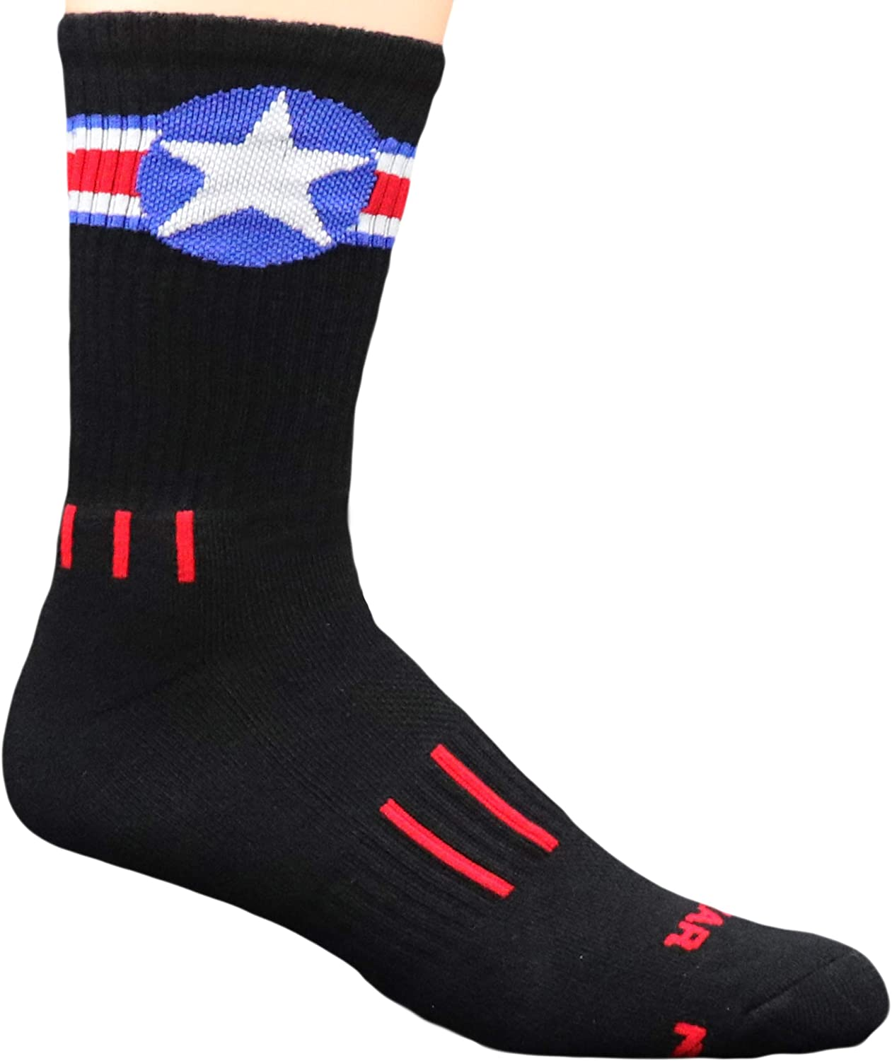 MOXY Socks Black with Red, White, and Blue American Star Performance Crew Socks