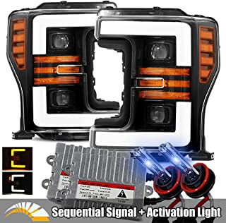 AlphaRex 10000K Xenon/Polished Black For 17-19 Ford F250/F350/F450/F550 Super Duty Halogen Type LED Tube Dual Projector Headlights with Switchback DRL/Sequential Signal/Activation Light