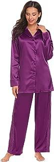 Vansop Women Silk Satin Notch Collar Long Sleeve Lace Button Down Sleepwear 2 Pieces Pajama Sets(S-XXL)