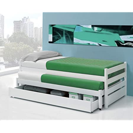 KITKAY Cama Compacto Vero lacada Blanco Mate con Dos Camas de 90 con cajón Grande