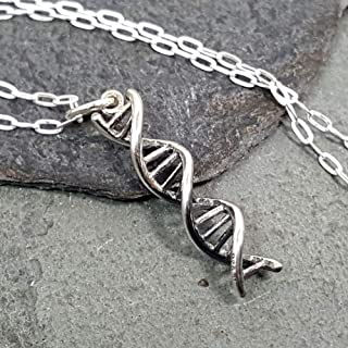 DNA Molecule of Life Charm Necklace - 925 Sterling Silver, 18