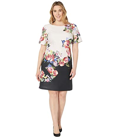 Adrianna Papell Plus Size Rose Printed A-Line Dress (Black Multi) Women