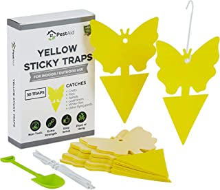 Yellow Sticky Fruit Fly Traps (30 Traps) - Fruit Fly Trap Indoor - Gnat Trap Indoor - Fungus Gnat Killer for Indoor Plants - Sticky Fruit Fly Traps For Kitchen Houseplant Insect Control Indoor/Outdoor