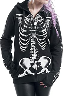 Women Halloween Zip up Skull Skeleton Print Hoodie Sweatshirt Cardigan