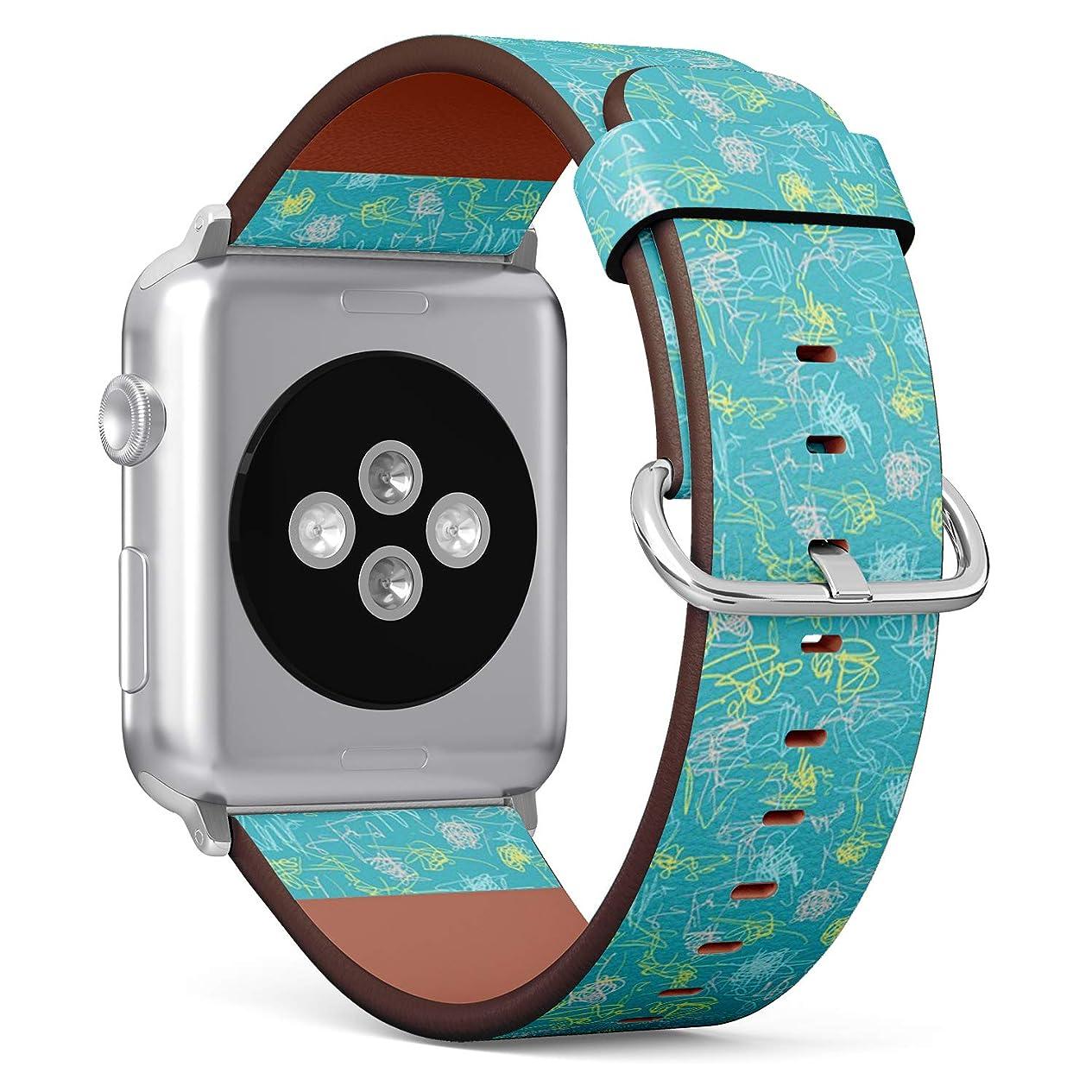 国勢調査インタフェース第コンパチブル Apple Watch iWatch 42mm & 44mm - 本革レザーストラップ, 向けのバンド交換ストラップです コンパチブル アップルウォッチ バンド (スクラップブッキング)