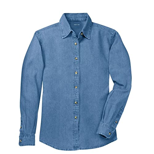 8a9b4ab1652 Ladies Long Sleeve Value Denim Shirts in Sizes XS-4XL