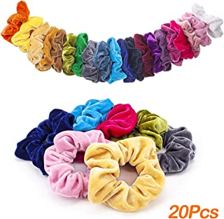 MOLYHUA 20 Pack Velvet Hair Scrunchies for Girls Women Colorful Hair Ties Scrunchy Bright Hair Bands, 20 Colors