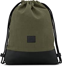 Johnny Urban Turnbeutel Hipster Grün/Schwarz Luke Canvas Gymsack Gym Bag Beutel Sportbeutel Rucksack für Damen & Herren mit Innentasche - Aus robustem Baumwoll Canvas und veganem Leder