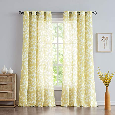 Amazon Com Treatmentex White Yellow Curtains For Living Room 84 Length Leaf Print Semi Sheer Curtains For Kitchen Windows Mustard Yellow Grommet Top 2 Pack Home Kitchen
