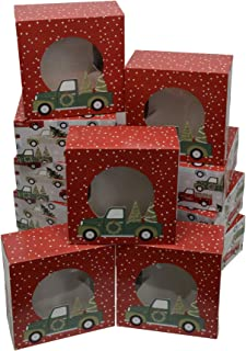 Christmas Cookie gift boxes, fold-able with holiday designs, set of 12 boxes (Trees in a Pickup)
