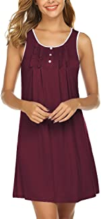 Hotouch Nightgowns Womens Cotton Night Shirts Sleeveless Sleep Dress S-XXL