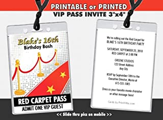 Hollywood Red Carpet Birthday Party VIP Pass Invitation, Printable or Printed Option