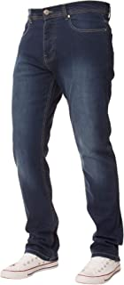 Enzo Mens Jeans Stretch Straight Leg Regular Fit Denim Pants Big Tall All Waists