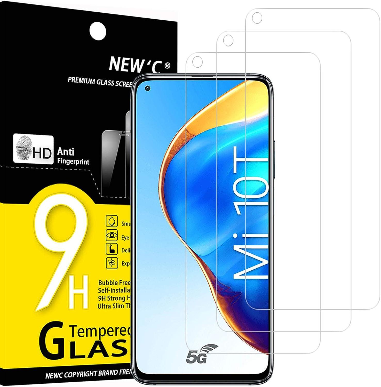 NEW'C 3 Unidades, Protector de Pantalla para Xiaomi Mi 10T 5G, Mi 10T Pro 5G, Antiarañazos, Antihuellas, Sin Burbujas, Dureza 9H, 0.33 mm Ultra Transparente, Vidrio Templado Ultra Resistente