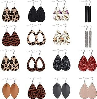Finrezio 16-20Pairs Teardrop Leather Earrings Lightweight Dangle Earrings Leaf Leopard Print Earrings Set for Women
