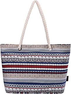 DGY Women's Print Canvas Tote Bag Beach Bag Shopping Bag Shoulder Bag with Thick Rope Handle (Elephant)