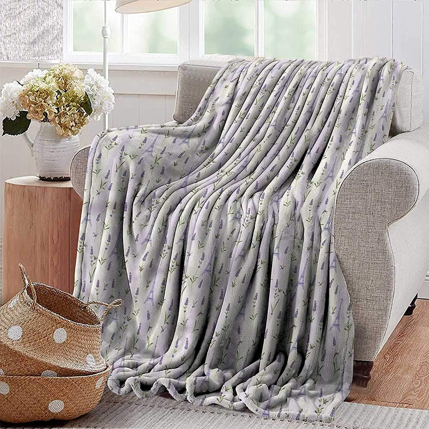 Xaviera Doherty Summer Blanket Paris,Lavender Eiffel Pastel Weighted Blanket for Adults Kids, Better Deeper Sleep 35 x60
