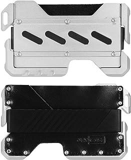 Dapper EDC Wallet--Genuine Leather, CNC Alum, minimalist wallets RFID Blocking Card Bag Card Cases Money Organizers Black A